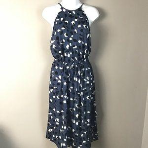 Loft lightweight Grecian neckline blue leaf dress.